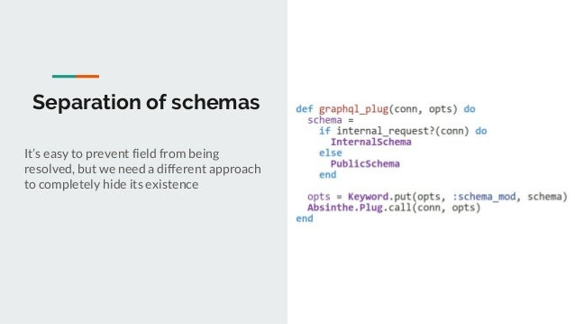 Separation of schemas It's easy to prevent field from being resolved, but we need a different approach to completely hide ...