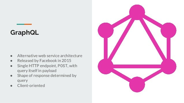 GraphQL ● Alternative web service architecture ● Released by Facebook in 2015 ● Single HTTP endpoint, POST, with query its...