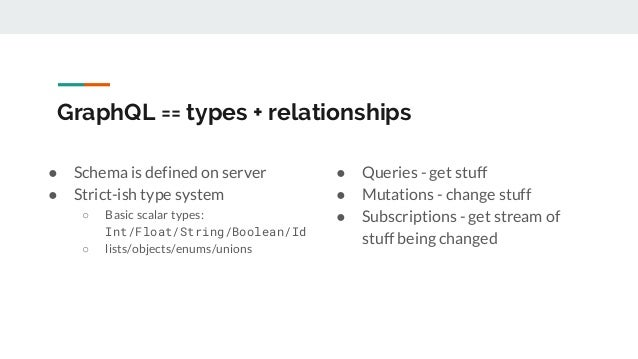 GraphQL == types + relationships ● Schema is defined on server ● Strict-ish type system ○ Basic scalar types: Int/Float/St...