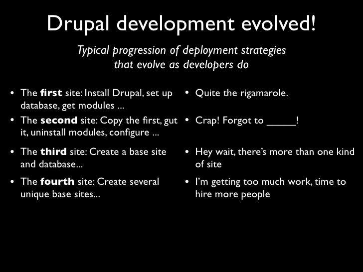 Drupal development evolved!                  Typical progression of deployment strategies                          that ev...