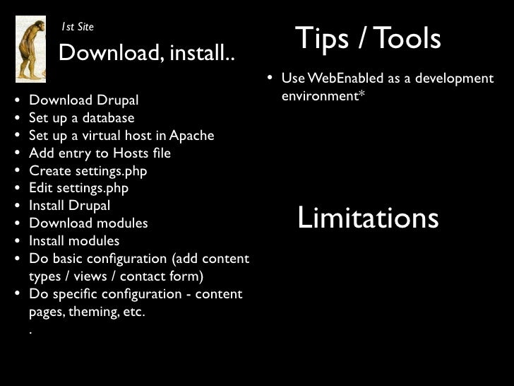 Tips / Tools         1st Site          Download, install..                                          •   Use WebEnabled as ...