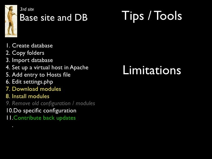 3rd site      Base site and DB                  Tips / Tools  1. Create database 2. Copy folders 3. Import database 4. Set...