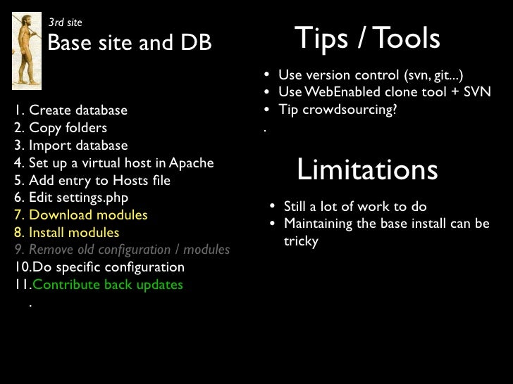 3rd site      Base site and DB                            Tips / Tools                                        •       Use ...