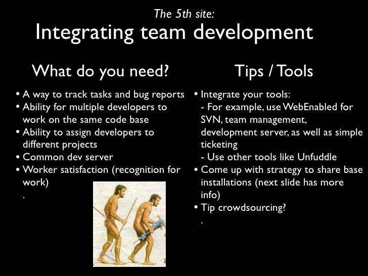 The 5th site:     Integrating team development    What do you need?                              Tips / Tools • A way to t...