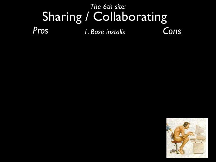 The 6th site:   Sharing / Collaborating Pros     1. Base installs   Cons
