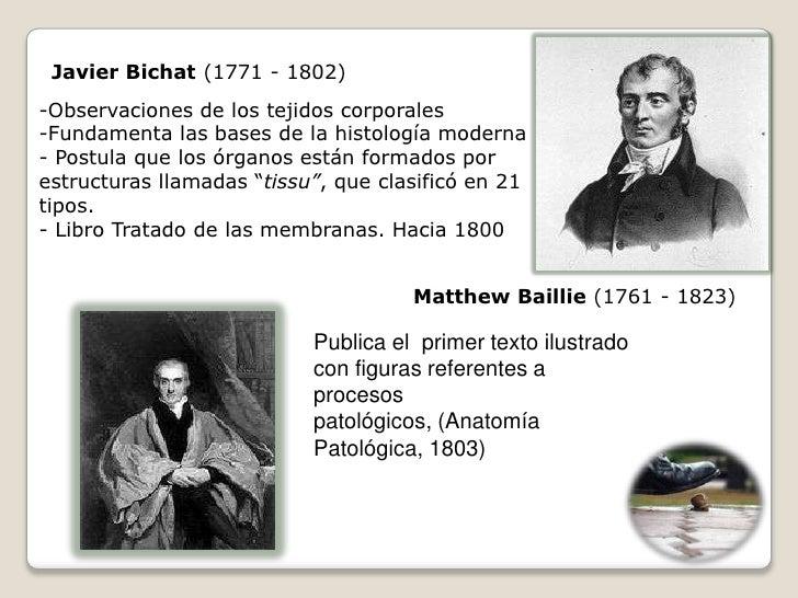 Javier Bichat (1771 - 1802) -Observaciones de los tejidos corporales -Fundamenta las bases de la histología moderna - Post...
