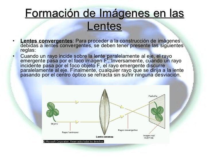 Formación de Imágenes en las Lentes <ul><li>Lentes convergentes : Para proceder a la construcción de imágenes debidas a le...