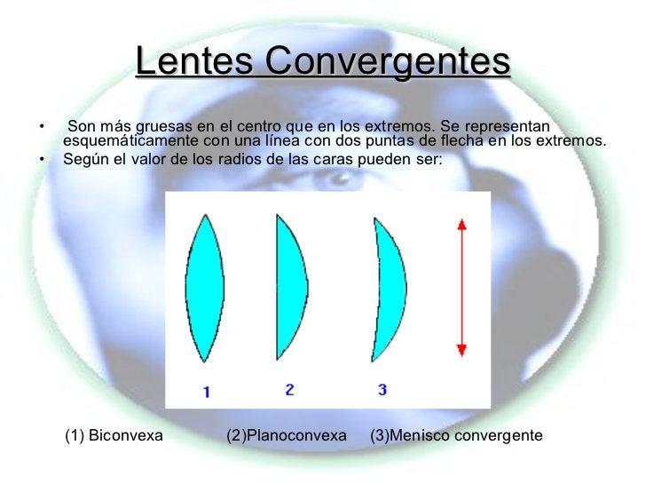 Lentes Convergentes <ul><li>Son más gruesas en el centro que en los extremos. Se representan esquemáticamente con una líne...