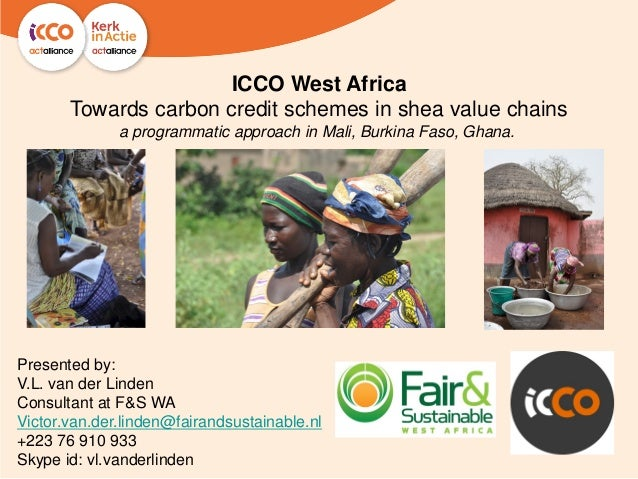 ICCO West AfricaTowards carbon credit schemes in shea value chainsa programmatic approach in Mali, Burkina Faso, Ghana.Pre...