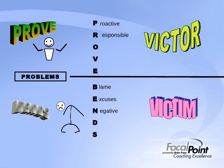 P R O V E roactive esponsible B E N D S lame xcuses PROVE BENDS VICTOR VICTIM PROBLEMS egative