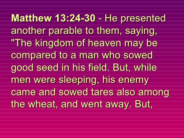 """Matthew 13:24-30  - He presented another parable to them, saying, """"The kingdom of heaven may be compared to a man who..."""
