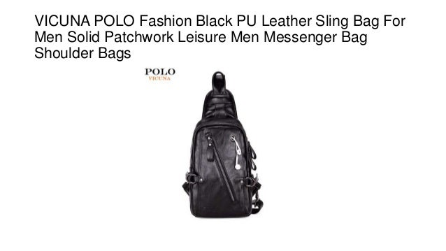 Vicuna polo fashion black pu leather sling bag for men solid patchwor… bf67df8728