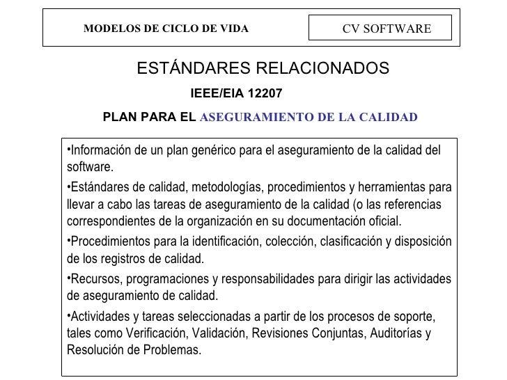 MODELOS DE CICLO DE VIDA CV SOFTWARE ESTÁNDARES RELACIONADOS PLAN PARA EL   ASEGURAMIENTO DE LA CALIDAD   IEEE/EIA 12207 <...