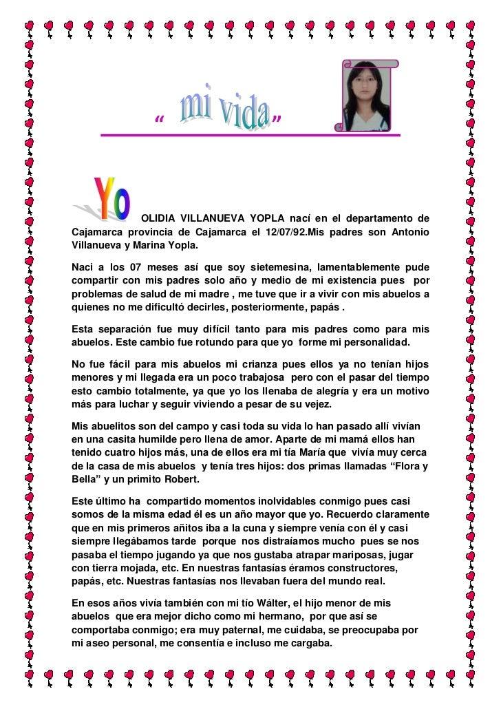 """""""   """"              <br />                  <br />  OLIDIA VILLANUEVA YOPLA nací en el departamento de Cajamarca ..."""