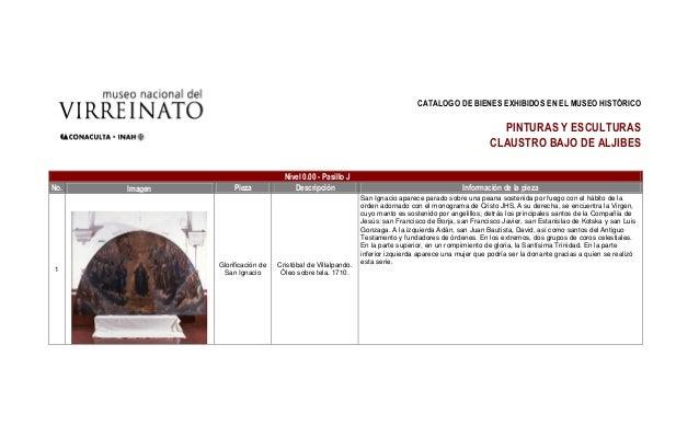 CATALOGO DE BIENES EXHIBIDOS EN EL MUSEO HISTÓRICOPINTURAS Y ESCULTURASCLAUSTRO BAJO DE ALJIBESNivel 0.00 - Pasillo JNo. I...