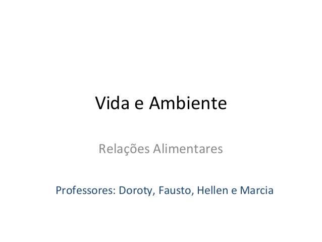 Vida e Ambiente Relações Alimentares Professores: Doroty, Fausto, Hellen e Marcia