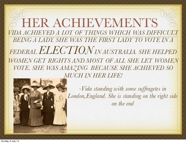 vida goldstein Vida was the first woman in the british empire to stand for parliament and although unsuccessful in five campaigns, was a shining light in paving the way for.