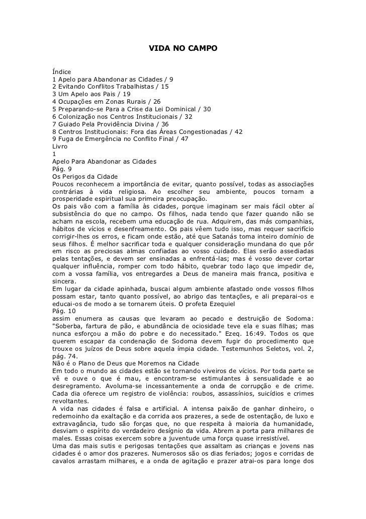 VIDA NO CAMPOÍndice1 Apelo para Abandonar as Cidades / 92 Evitando Conflitos Trabalhistas / 153 Um Apelo aos Pais / 194 Oc...