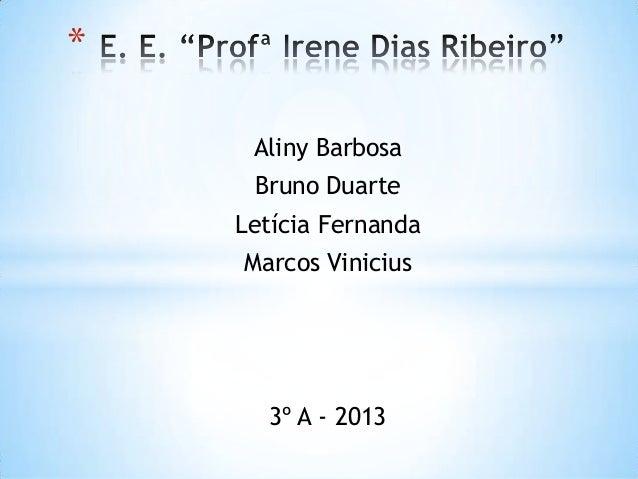 Aliny Barbosa Bruno Duarte Letícia Fernanda Marcos Vinicius 3º A - 2013 *