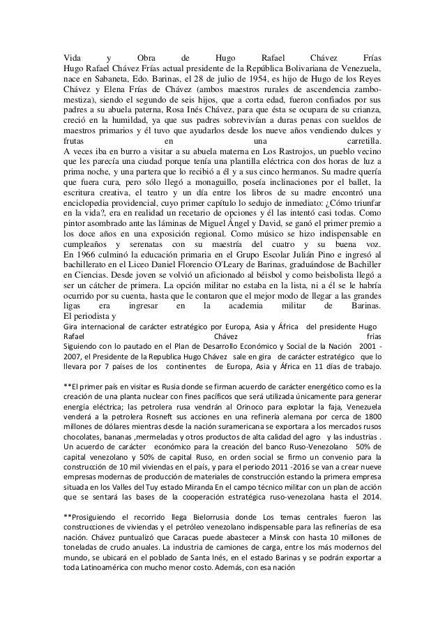 Vida        y        Obra        de       Hugo         Rafael        Chávez         FríasHugo Rafael Chávez Frías actual p...