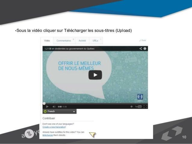•Sous la vidéo cliquer sur Télécharger les sous-titres (Upload)  10
