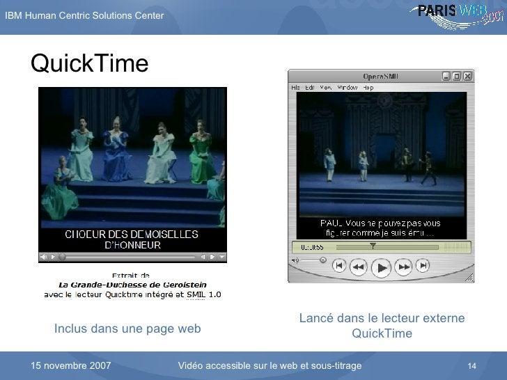 QuickTime Inclus dans une page web Lancé dans le lecteur externe QuickTime