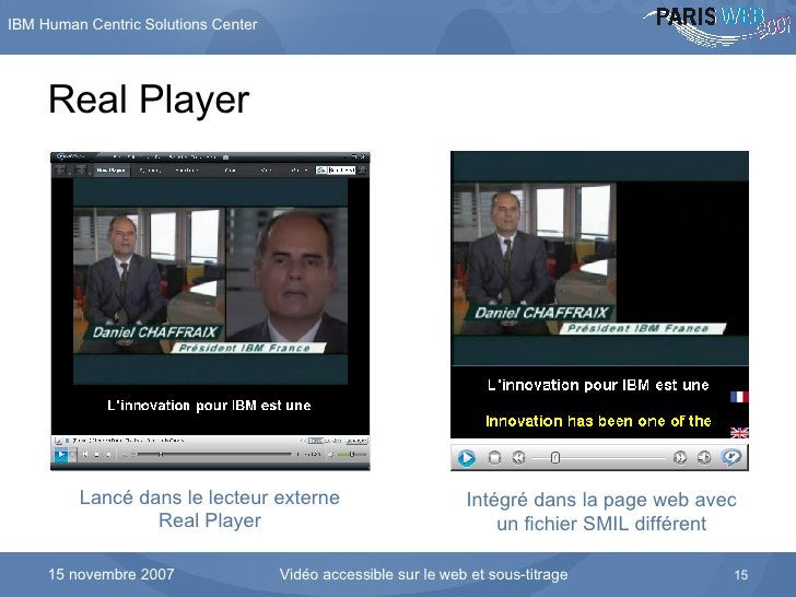 Real Player Lancé dans le lecteur externe Real Player Intégré dans la page web avec un fichier SMIL différent