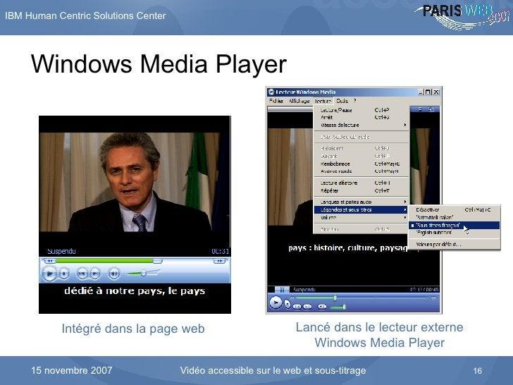 Windows Media Player Intégré dans la page web Lancé dans le lecteur externe Windows Media Player