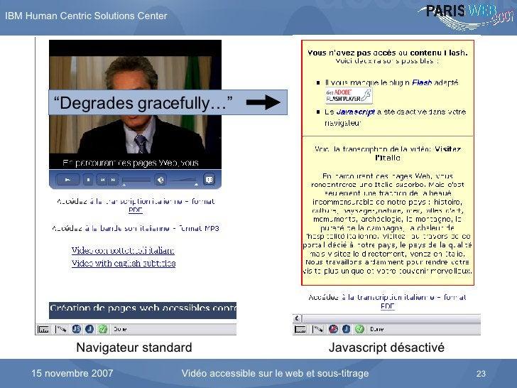 """Flash avec SWFObject en mode dégradé Navigateur standard Javascript désactivé """" Degrades gracefully … """""""
