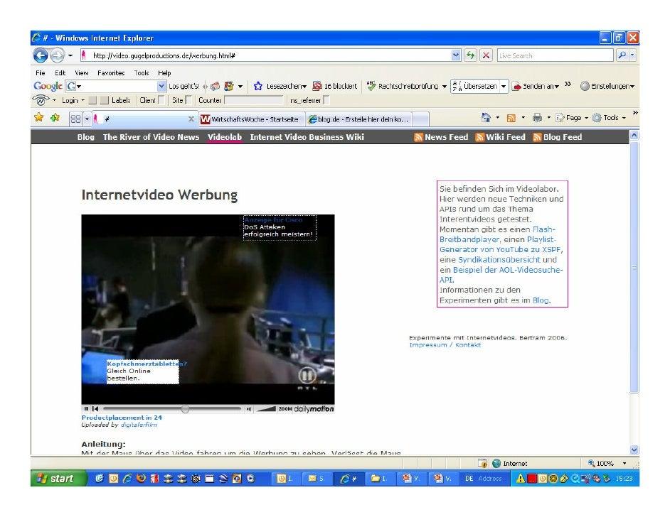 Video-Beispiele - Zukunft der Videowerbung  • XML Tags   • Ersetzen von lästigen Werbepausen    • Verknüpfung von Sendeinh...