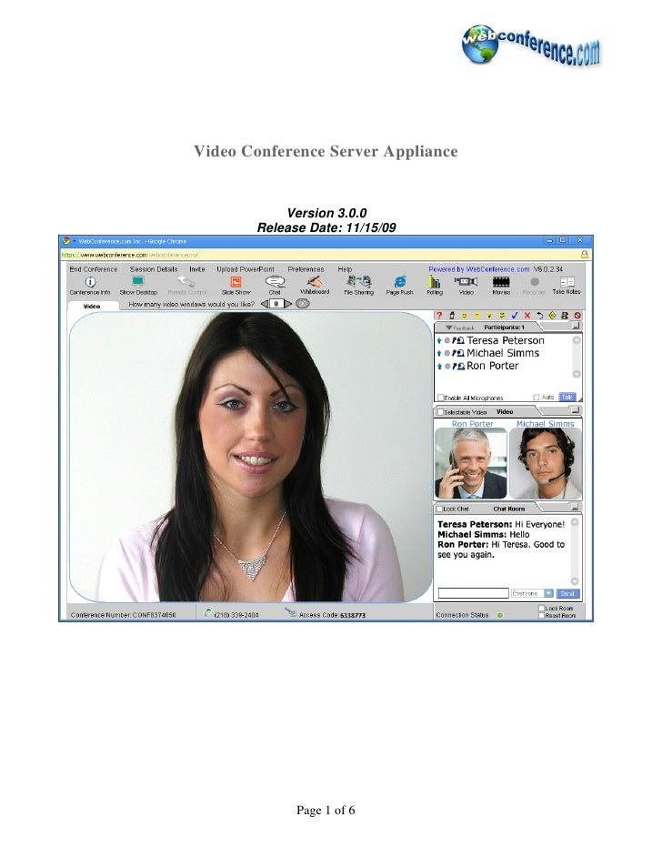 Video Conference Server Appliance              Version 3.0.0        Release Date: 11/15/09                  Page 1 of 6