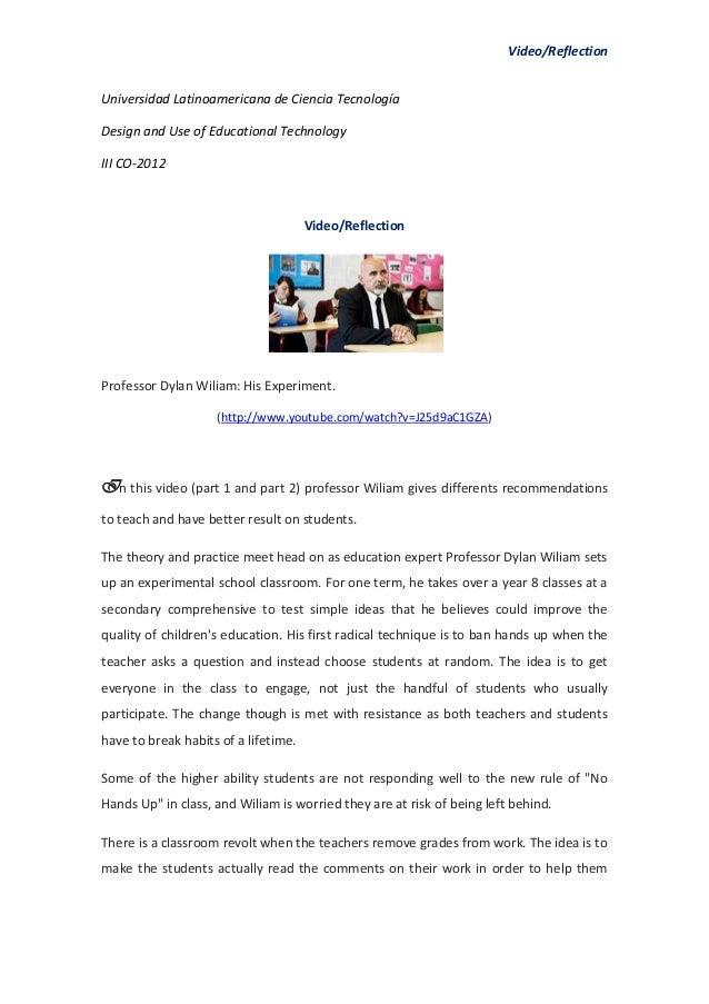 Video/ReflectionUniversidad Latinoamericana de Ciencia TecnologíaDesign and Use of Educational TechnologyIII CO-2012      ...