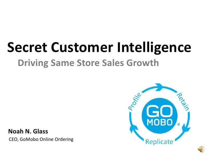 Secret Customer Intelligence<br />Driving Same Store Sales Growth<br />Noah N. Glass<br />CEO, GoMobo Online Ordering<br />