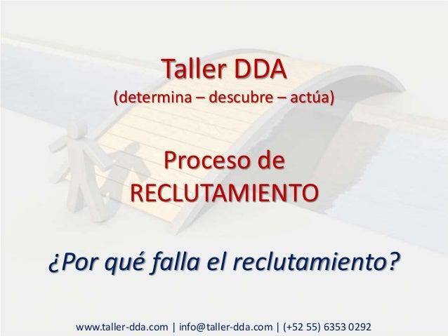 Taller DDA (determina – descubre – actúa) Proceso de RECLUTAMIENTO ¿Por qué falla el reclutamiento? www.taller-dda.com | i...