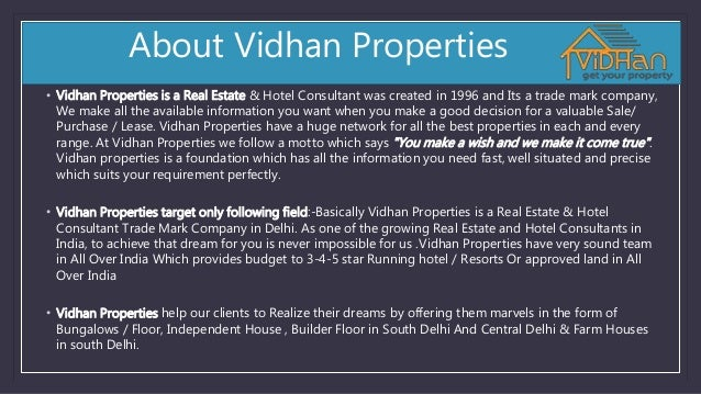 About Vidhan Properties • Vidhan Properties is a Real Estate & Hotel Consultant was created in 1996 and Its a trade mark c...