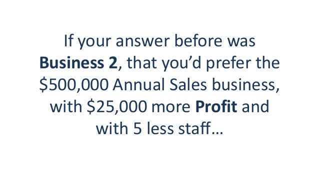 If your answer before was Business 2, that you'd prefer the $500,000 Annual Sales business, with $25,000 more Profit and w...