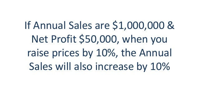 If Annual Sales are $1,000,000 & Net Profit $50,000, when you raise prices by 10%, the Annual Sales will also increase by ...