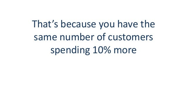 That's because you have the same number of customers spending 10% more