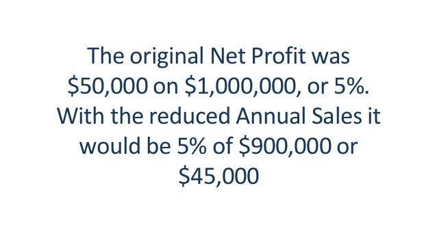 The original Net Profit was $50,000 on $1,000,000, or 5%. With the reduced Annual Sales it would be 5% of $900,000 or $45,...