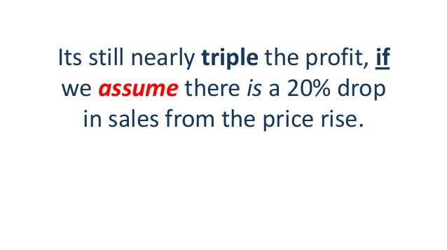 Its still nearly triple the profit, if we assume there is a 20% drop in sales from the price rise.