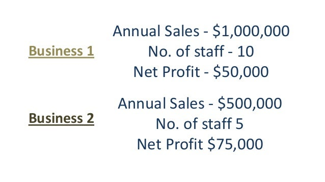 Annual Sales - $1,000,000 No. of staff - 10 Net Profit - $50,000 Annual Sales - $500,000 No. of staff 5 Net Profit $75,000...