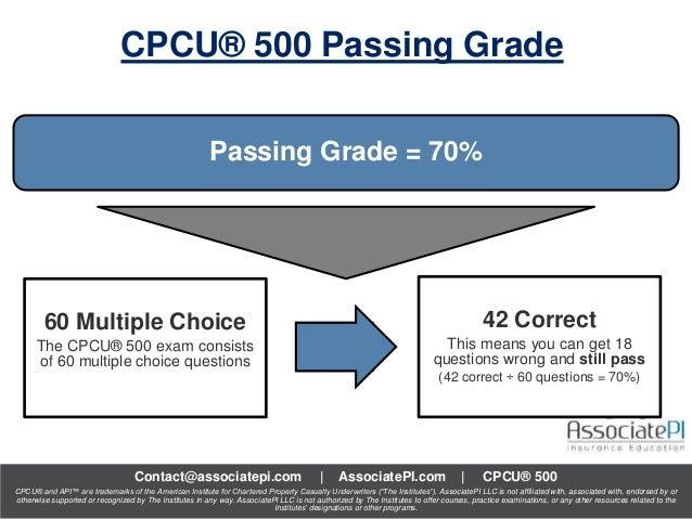 Cpcu 500 Exam Passing Grade Cpcu 500 Series Part 8