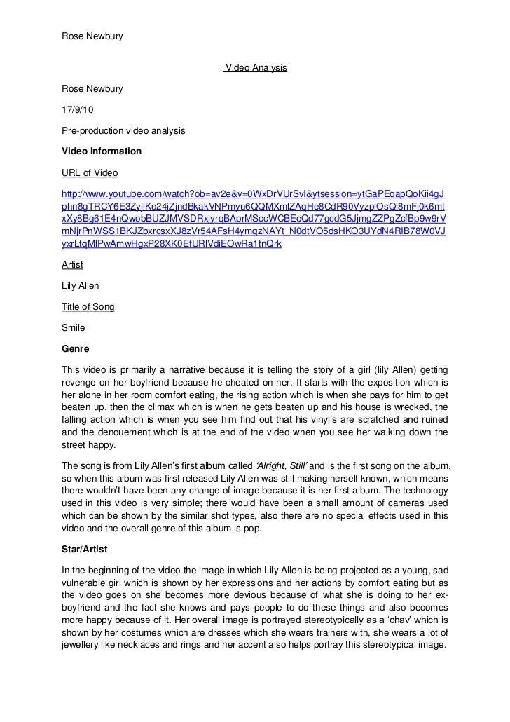 Video Analysis<br />Rose Newbury<br />17/9/10<br />Pre-production video analysis<br />Video Information<br />URL of Video...