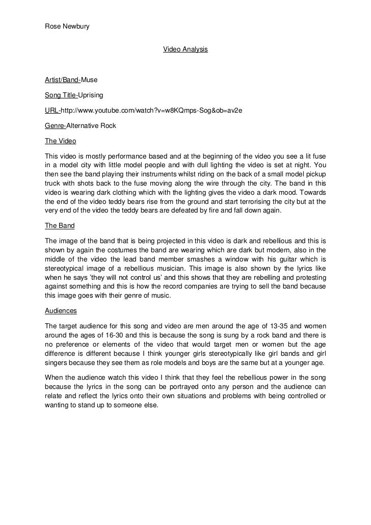 Video Analysis<br />Artist/Band-Muse<br />Song Title-Uprising<br />URL-http://www.youtube.com/watch?v=w8KQmps-Sog&ob=av2e<...