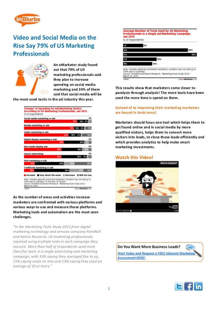 VideoandSocialMediaontheRiseSay79%ofUSMarketingProfessionals                                              ...