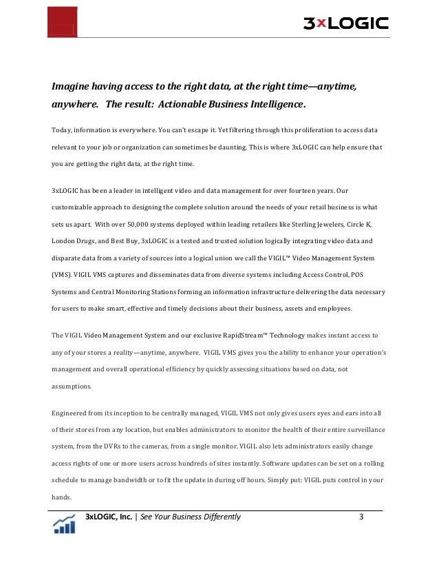 3xLOGIC Delivers the Business Intelligence You Need —Anytime, Anywhere! 3xLOGIC's Intelligent Video Analytics effectively ...