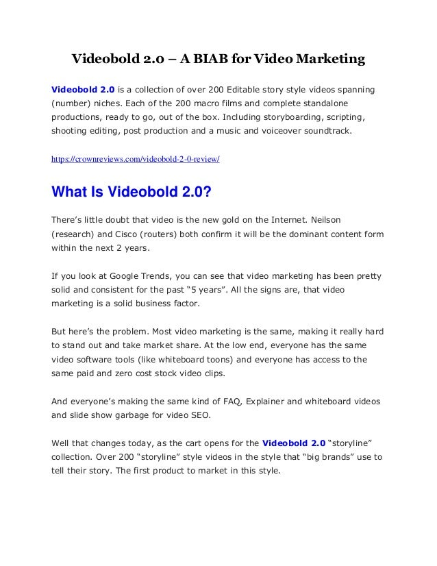 Videobold 2.0 – A BIAB for Video Marketing Videobold 2.0 is a collection of over 200 Editable story style videos spanning ...