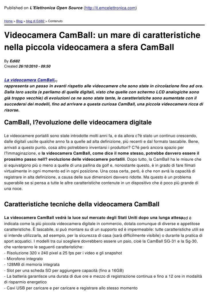 Published on LElettronica Open Source (http://it.emcelettronica.com)Home > Blog > blog di Edi82 > ContenutoVideocamera Cam...