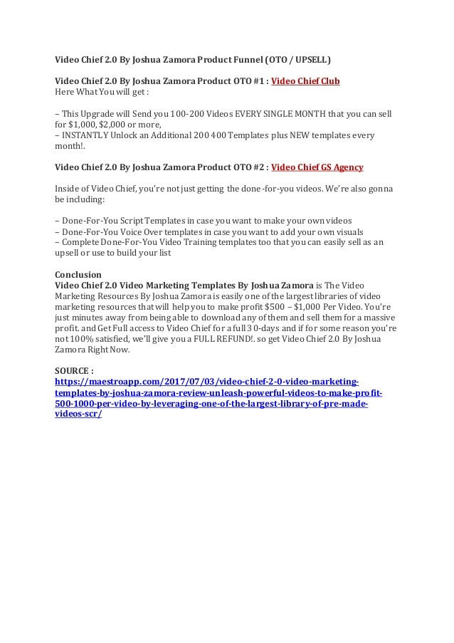 VIDEO CHIEF 2.0 VIDEO MARKETING TEMPLATES BY JOSHUA ZAMORA REVIEW