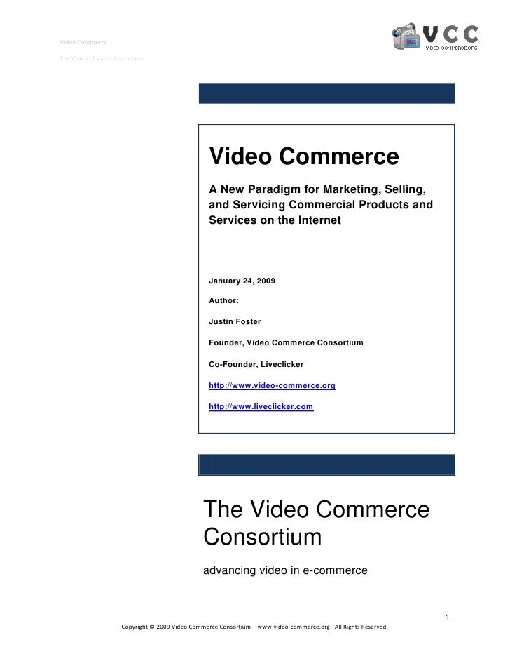 Video Commerce  The Vision of Video Commerce                                                      Video Commerce          ...